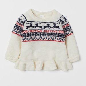 """NWT H&M Knit Sweater """"Festive"""" Size 2-4Y"""